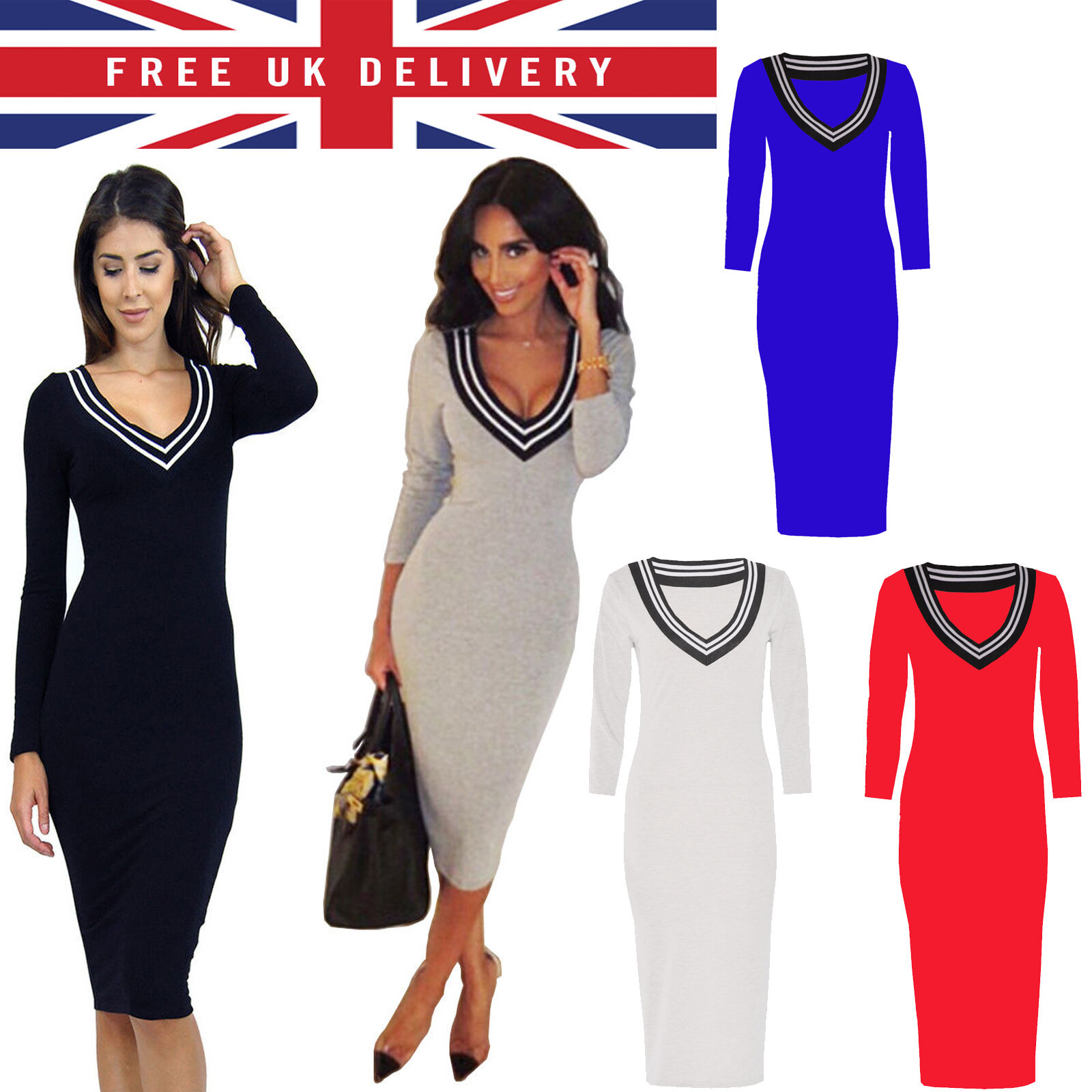 1f903e4f7a WOMEN V NECK PARTY EVENING BANDAGE BODYCON SEXY PENCIL CELEBRITY MIDI DRESS.  *UK Stock *Same Day Dispatch *Top Quality * Free Post