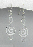 "1.65"" SHINY Solid Sterling Silver 42mm Treble Clef  Dangle Earrings 2.5g LOVELY"