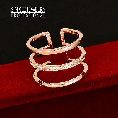 Fashion 2016 Crystal 3 Layers Midi Rings For Women 18K Rose Gold Plated JZ473