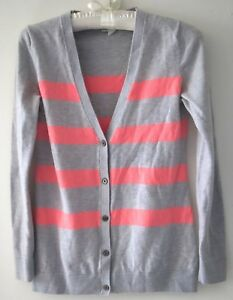 0980ec66b Women's GAP Pink/Gray Striped Cardigan Sweater - Size XS | eBay
