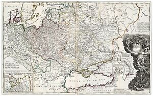 Old Vintage Decorative Map of Poland Russia Ukraine Black Sea Moll 1732