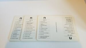 Vintage Scattergories 1988 Category List Cards 6 Sets Of 12 Lists Replacement Ebay