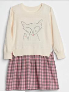 BabyGap Girl Fox Mix-Fabric Dress NWT 3t 2t 18-24m n12 nnn