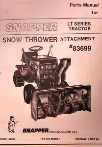 snapper lt11 lt12 lt16 lawn tractor snow thrower implement parts rh ebay com Snapper LT 16 Parts Manual Old Snapper Lawn Mower
