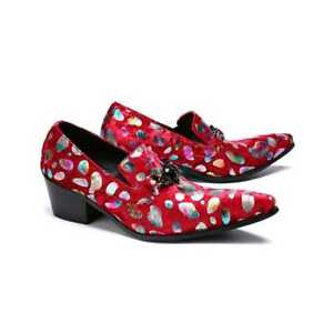 Men-Sexy-Pointy-Toe-Floral-Graffiti-Printing-Block-Heels-Party-Formal-Shoe-T199