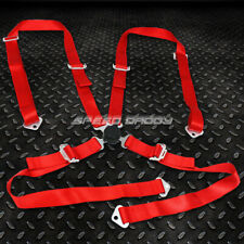 1x Universal 4 Point 2 Strap Camlock Drift Racing Safety Seat Belt Harness Red