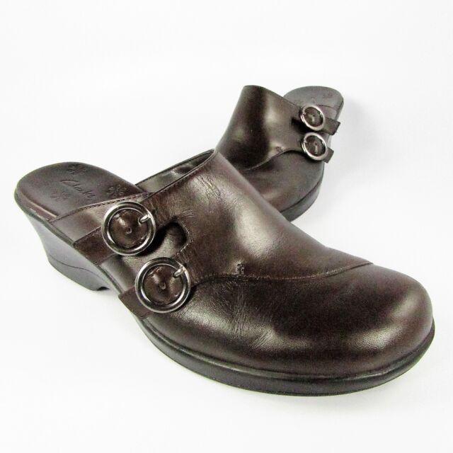 141fc0b3d6696 Clarks Double Buckle Block Heel Leather Mules Clogs Womens 9m Dark Brown  70832