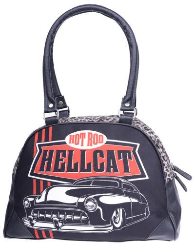 TASCHE Rockabilly Hotrod Hellcat TOP CHOPS Hot Rod Leopard Bowler Bag