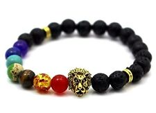 7 Chakra Gemstone Lion Bracelet Lava Natural Stone Yoga Bracelet Healing Balance