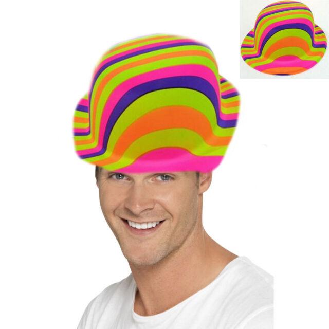 60s Rainbow Bowler Hat Costume Hippie Accessory Party Mens Fancy Dress 1960 07aba13eb9c