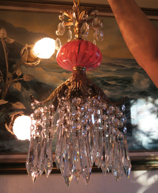 Lily Crystal Spelter Ceiling Lamp Chandelier Swirl Fenton Cranberry Glass brass