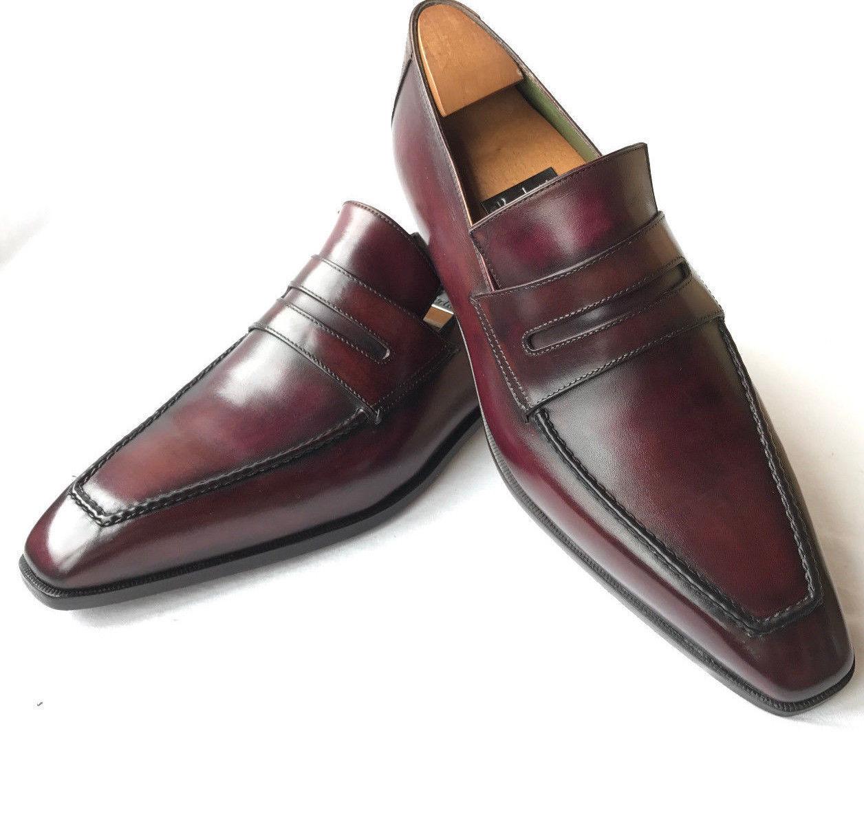 Handmade Men dark burgundy color Leather formal shoes, designer Men dress shoes