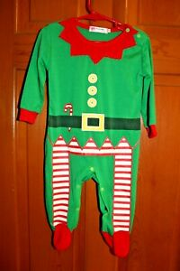 Vogue-infants-sleepwear-size-6-9-months-green-red-striped-Christmas-footed-elf