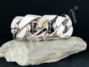 Edelstahl-Herren-Armband-Panzerarmband-Biker-Armkette-Panzer-massiv-Silber-XXL