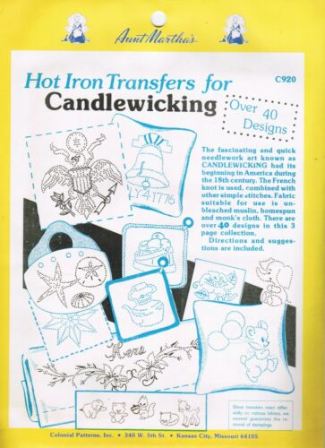 Aunt Martha/'s Hot Iron Transfers for Candlewicking #C920