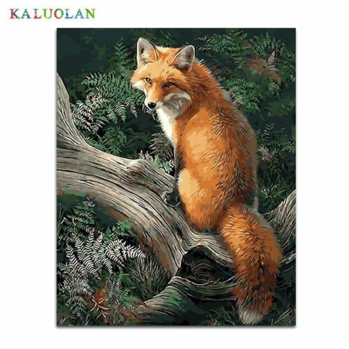 No Frame Fox Animals DIY Painting By Numbers Kits Paint On Canvas Acrylic Colori