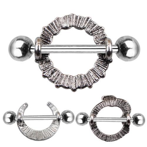 Acero inoxidable turquesa Luna bar barra de pezón anillo piercing joyería GN