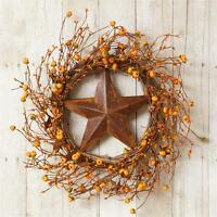 Primitive Country Fall Mini Pumpkin Orange Berry Rusty Star Grapevine Wreath