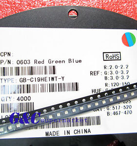 500pcs RGB LED SMD SMT 0603 RGB LED Super bright LED lamp Bulb