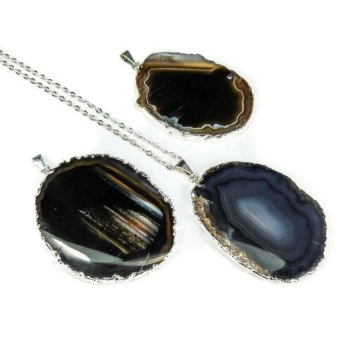 Natural Stone Silver Black Agate Slice Necklace Crystal Pendant LR95