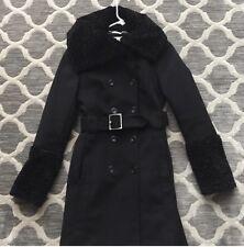 UEC!  Karen Millen Wool Trench Coat Black SZ 6 (fits Like 2/4) $595