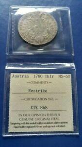 1780 AUSTRIA Maria Theresa Thaler Silver Coin (Restrike) ICCS MS-60