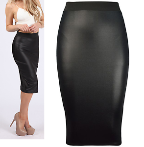 Ladies Black Wet Look Faux Leather Women Pencil Stretch Wiggle Midi Skirt 8-26