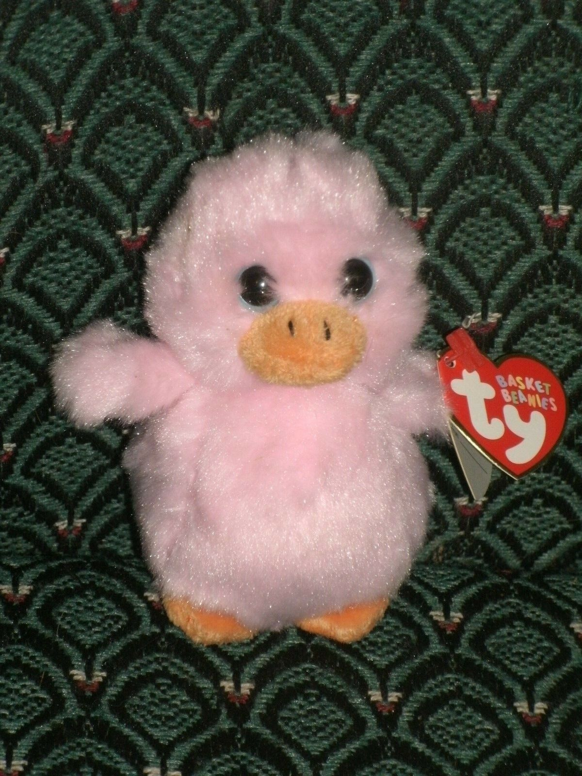 """Ty Basket Beanie ~ SPRINGY the 3/"""" pink Duck ~ LARGE EYES ~ MWMT ~ RETIRED"""