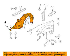 details about acura honda oem 04 08 tl front fender liner splash shield right 74100sepa10  2004 acura tl door diagram #14