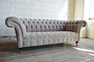 Image Is Loading Modern Handmade 3 Seater Cream Mushroom Fabric Velvet