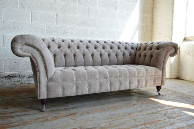 MODERN HANDMADE STONE GREY FABRIC VELVET CHESTERFIELD SOFA COUCH CHAIR 3 SEAT