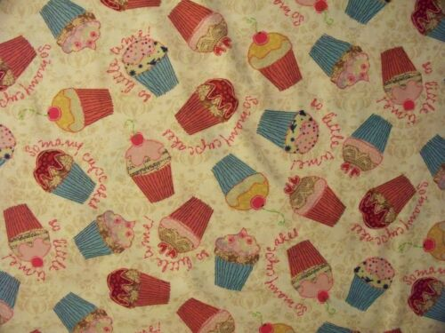 CUP CAKES CUPCAKES DESSERT BAKING COLORS COTTON FABRIC OOP FQ
