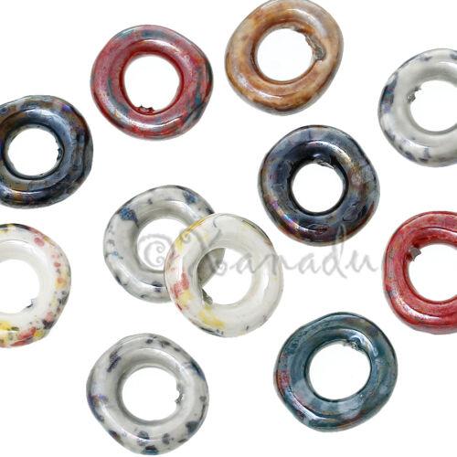 10 Or 20PCs Ceramic Ring Wholesale Random Color Mix Large Hole Beads B6870-5
