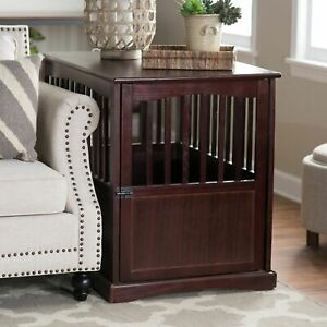 Large-Dog-Pet-Crate-Wooden-End-Table-Nightstand-Espresso-Living-Room-Bedroom