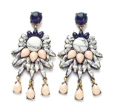Occident Fashion Rhinestone Resin Water Drop Tassels Flower Dangle Big Earrings