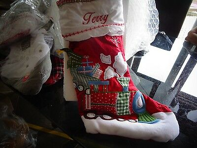 Pottery Barn Kids Quilted Train Christmas Stocking Mono