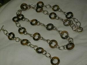Chaps-Argent-Ton-Tortue-Coque-Lucite-Chaine-Collier-amp-Bracelet-Set