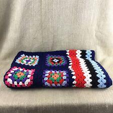 Vintage Blanket Granny Square Afghan Throw Handmade Crochet Blue Red White Vtg