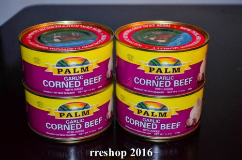 PALM GARLIC CORNED BEEF WITH JUICES 11.5 oz/326g Product of New Zealand LOT OF 4