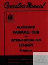 International Farmall Mccormick Cub Lo Boy Loboy Tractor Owner Operators Manual