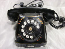 Vintage 1940's Swedish Telephone Telegrafverket Rotary Phone with Floral Accents