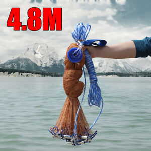 8FT-4-8m-Fish-Net-Bait-Easy-Throw-Strong-Nylon-Line-With-Sinker-F-Hand-Casting