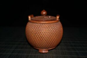 3-1-034-Collect-Chinese-Box-wood-Hand-Carved-Bamboo-Basket-Tripodia-Incense-Burner