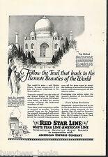 1924 RED STAR LINE advertisement, International Mercantile Marine, TAJ MAHAL