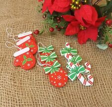 Christmas Tree Decorations Set of 9 Puddings Candy Canes Mitten Gloves Red Green
