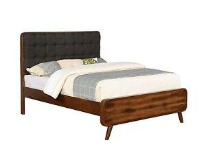 Details About Mid Century Modern Dark Walnut Leatherette Tufted King Bed Bedroom Furniture