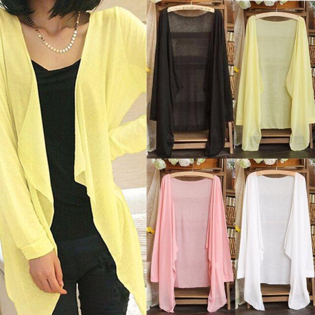 Hot Long Sleeve Thin Open Draped Knit Cardigan Shawl Collar Irregular Hem Top
