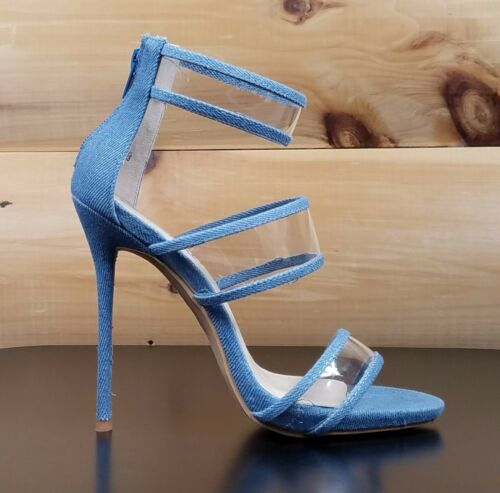"So Me Gab 3 Strap 5/"" High Heel Single Sole Shoe Denim Lucite 6-10"