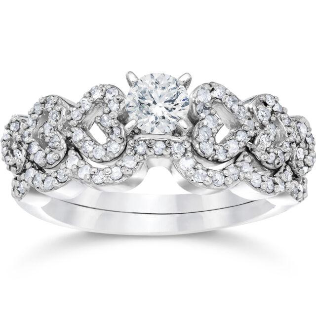 3/4ct Heart Shape Diamond Engagement Ring Set 14K White Gold