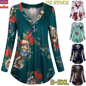 97ecb6b8b7380 Plus Size Women Retro Floral V Neck Baggy Blouse Ladies Long Sleeve ...